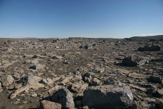 Dettifoss_210_06292007 - The desolate and dark moonscape of the terrain around the west bank of Dettifoss when we first saw it in late June 2007