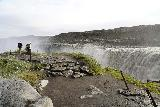 Dettifoss_West_074_08132021 - Context of Julie, Mom, and Tahia checking out Dettifoss with rope all around us that were designed to keep people away from the wet and slippery edges of the west side of the falls