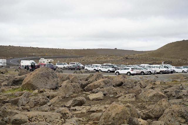 Dettifoss_West_245_08132021 - Looking back at the paved and spacious car park for Dettifoss as seen during our August 2021 visit, which benefitted from the numerous changes made since our 2007 visit