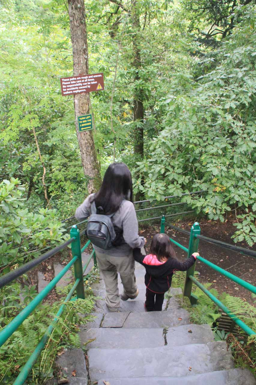 Julie and Tahia descending steps on the other side of the turnstile for Mynach Falls