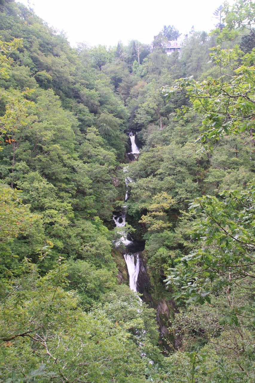 Contextual look at Mynach Falls with the Hafod Hotel way at the top