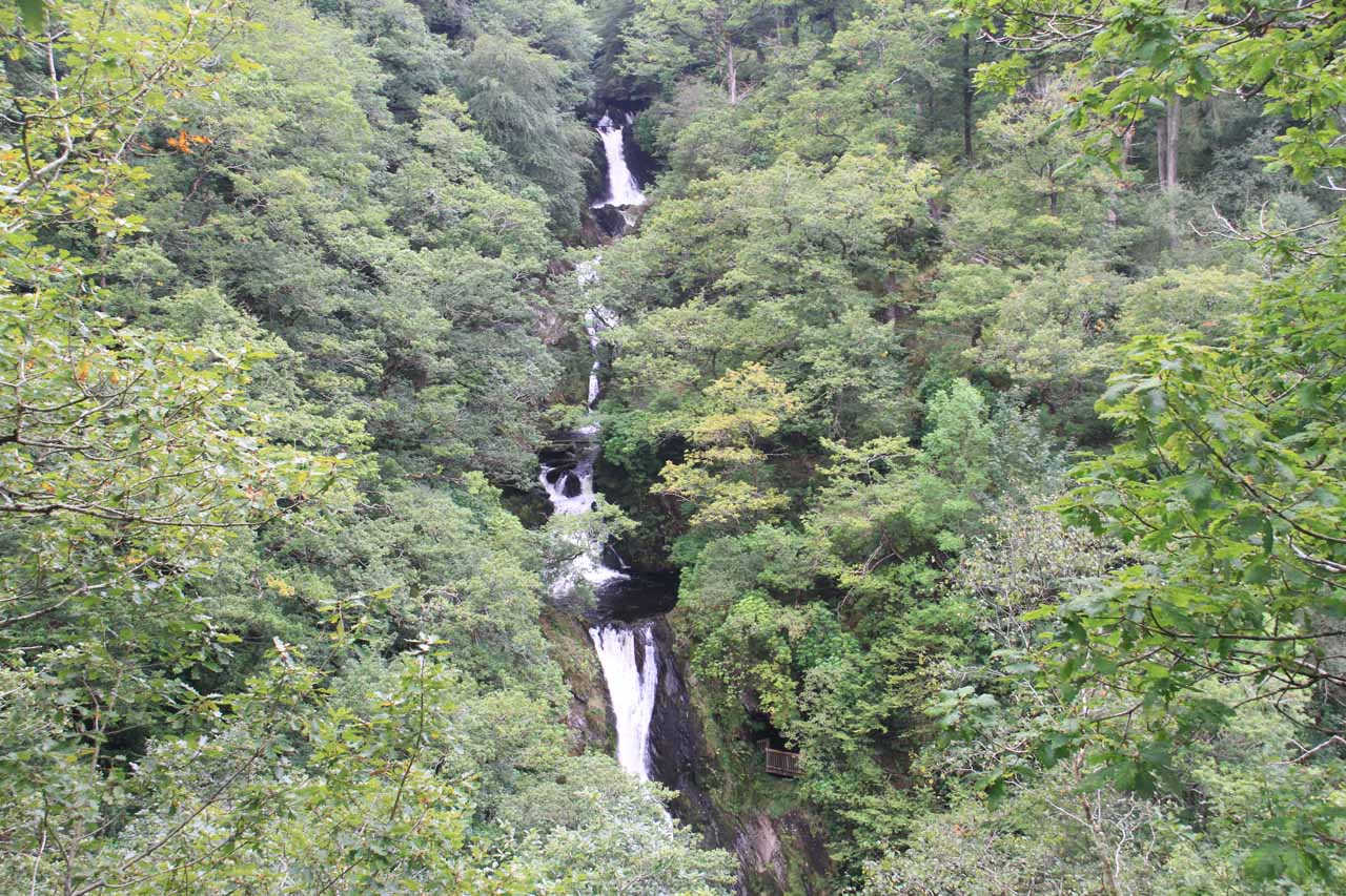 A landscape look at the impressive Mynach Falls