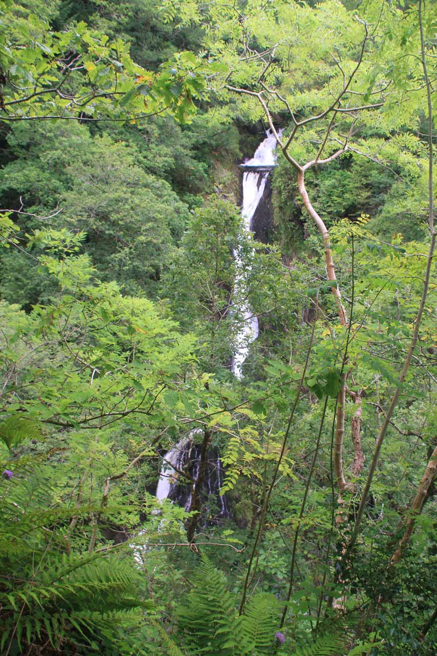 Partial view revealing the lowermost drops of Mynach Falls from Jacob's Ladder