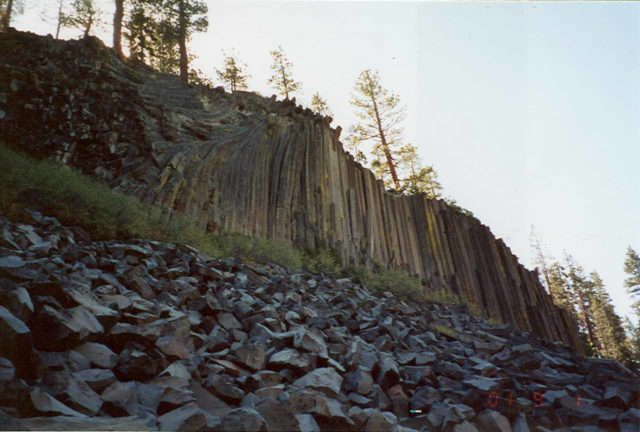 Devils_Postpile_002_scanned_09012001 - In the same reserve as the Agnew Meadows trailhead was the eccentric and namesake Devil's Postpile formation, which was a nice place to see pronounced basalt formations