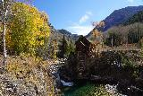 Devils_Punch_Bowl_Crystal_Mill_413_10172020 - Another elevated look at the Crystal Mill with waterfall and some Fall colors opposite the mill