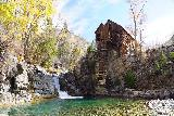 Devils_Punch_Bowl_Crystal_Mill_485_10172020 - Bright and colorful look at the Crystal Mill across the turquoise plunge pool