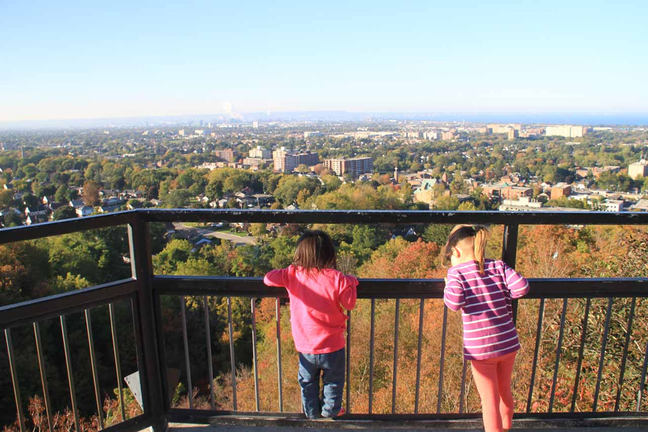 Tahia and some other kid about the same size as her both enjoying the view over Hamilton