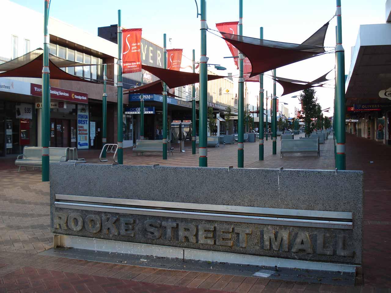 Sign for the Rooke Street Mall in Devonport