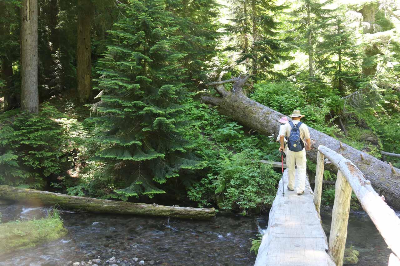 Mom and Dad crossing a one-sided log bridge traversing Diamond Creek