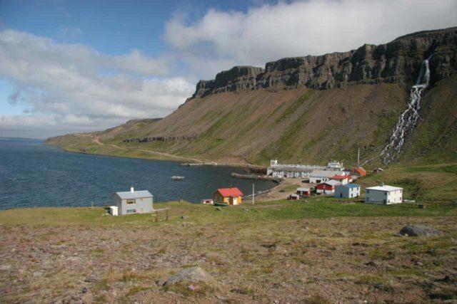 Djupavik_100_06252007 - Djupavikurfoss overlooking the town of Djupavik
