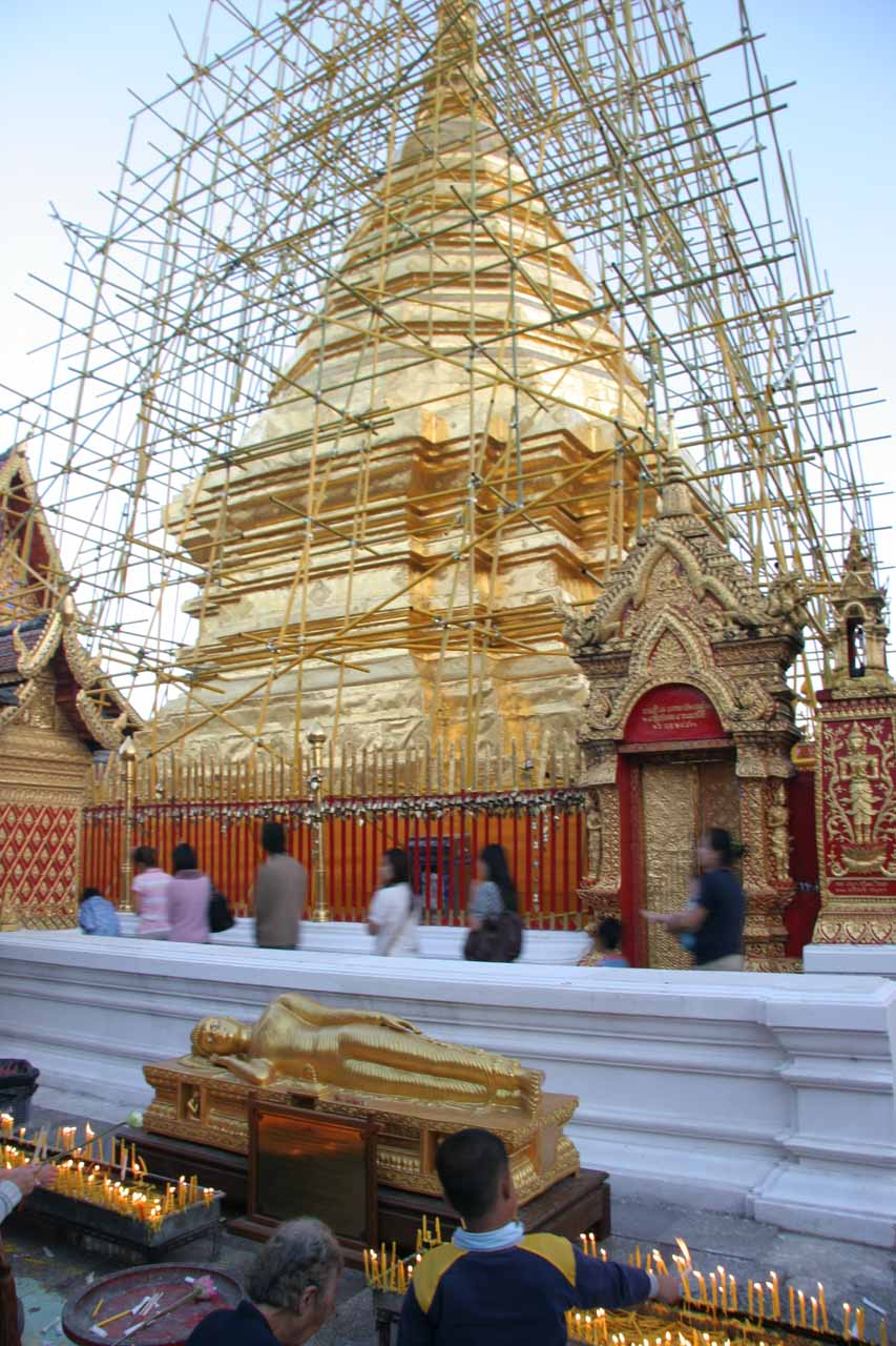 Scaffoldings surrounding the central chedi