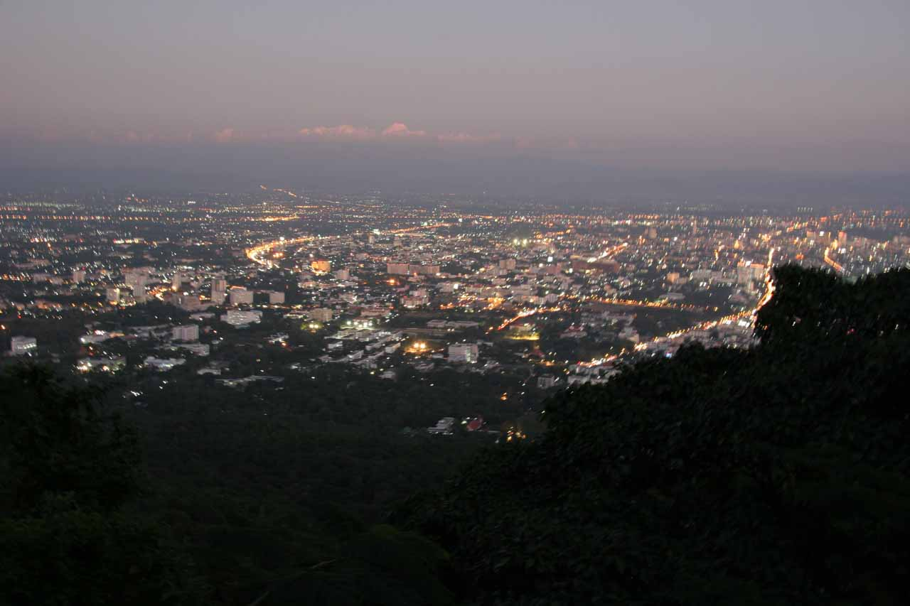 Looking down at the night lights of Chiang Mai from Doi Suthep