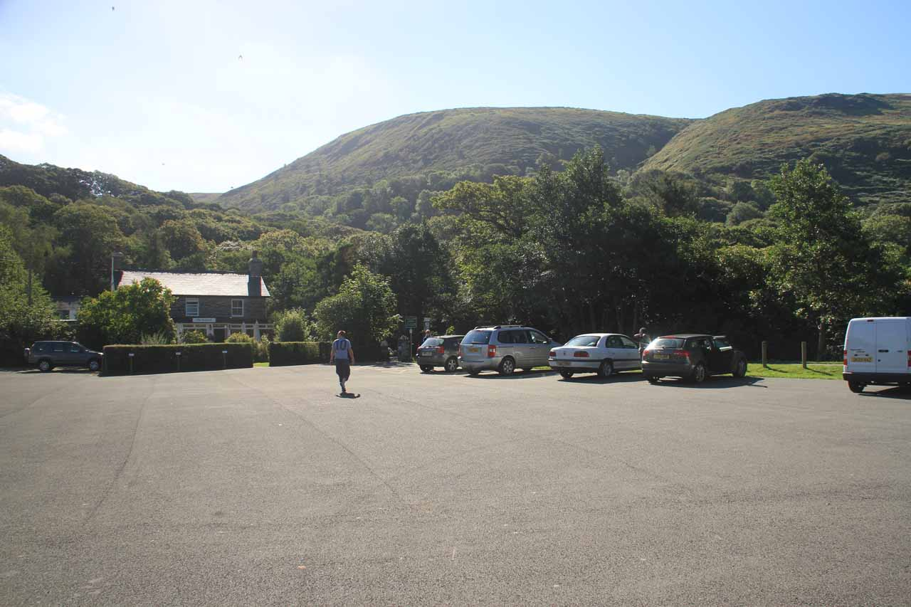 The wide open car park for the Dolgoch Falls Hotel and Cafe