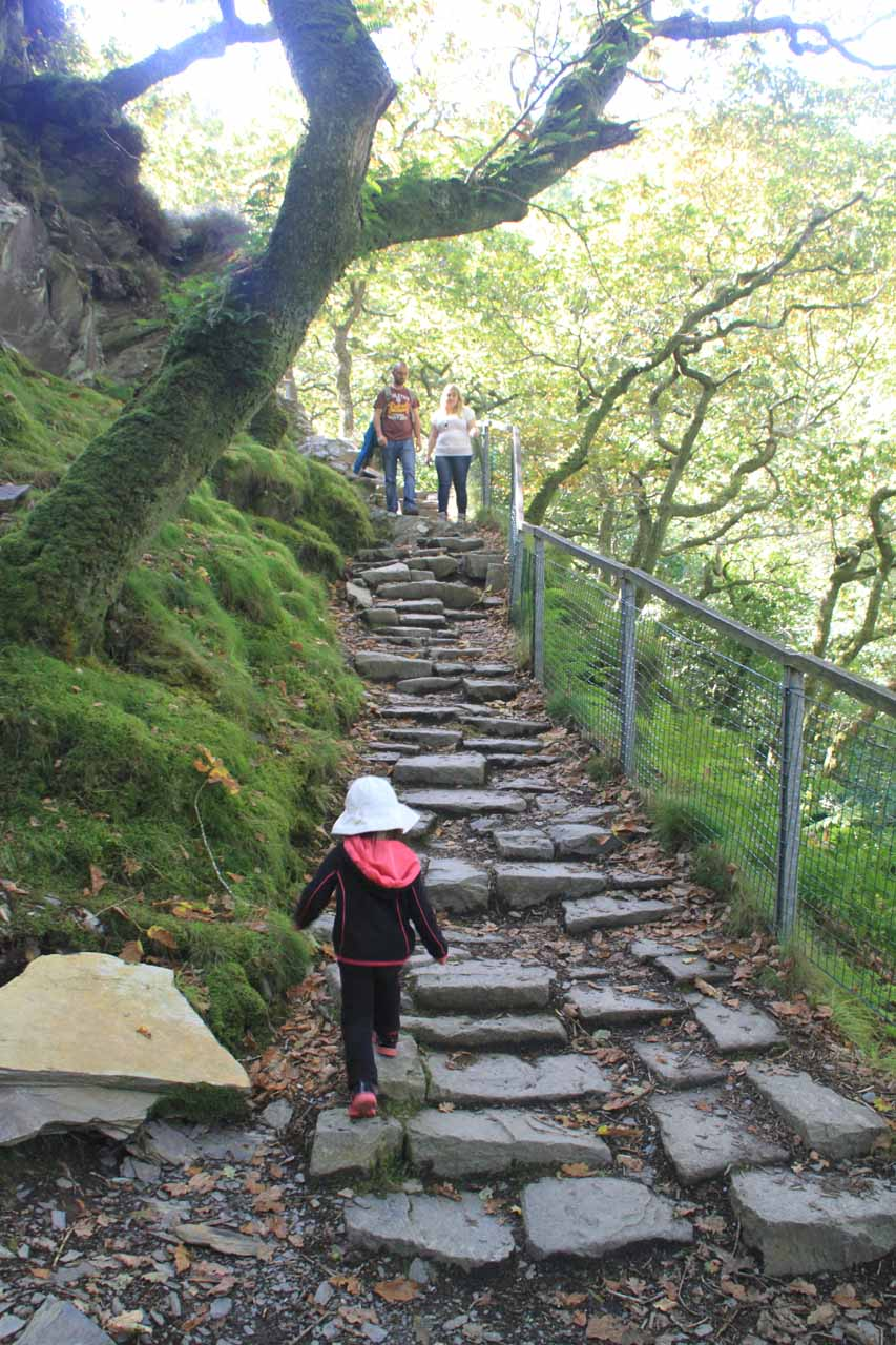 Tahia climbing up rocky steps to go past the first waterfall