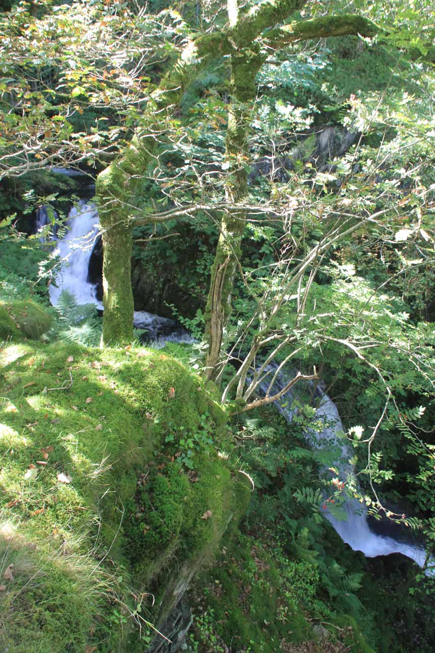 Some hidden tiers of the cascade above the main drops of the first waterfall