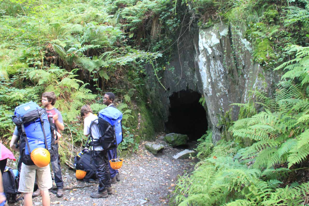 The caving kids caught up to us by this cave entrance near Pont yr Ogof