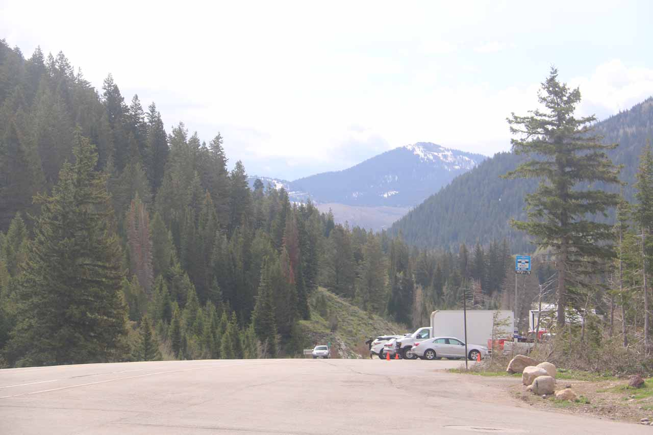 Looking further to the east along Big Cottonwood Canyon Road from the Mill D Parking Area. Notice how wide the pavement was here, which attests to the popularity of this place when it's said to fill up fast on weekends and in the Summer
