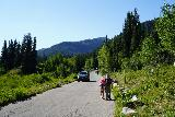 Donut_Falls_009_08092020 - Julie and Tahia walking along the Cardiff Fork Road while a car was leaving during our mid-August 2020 visit
