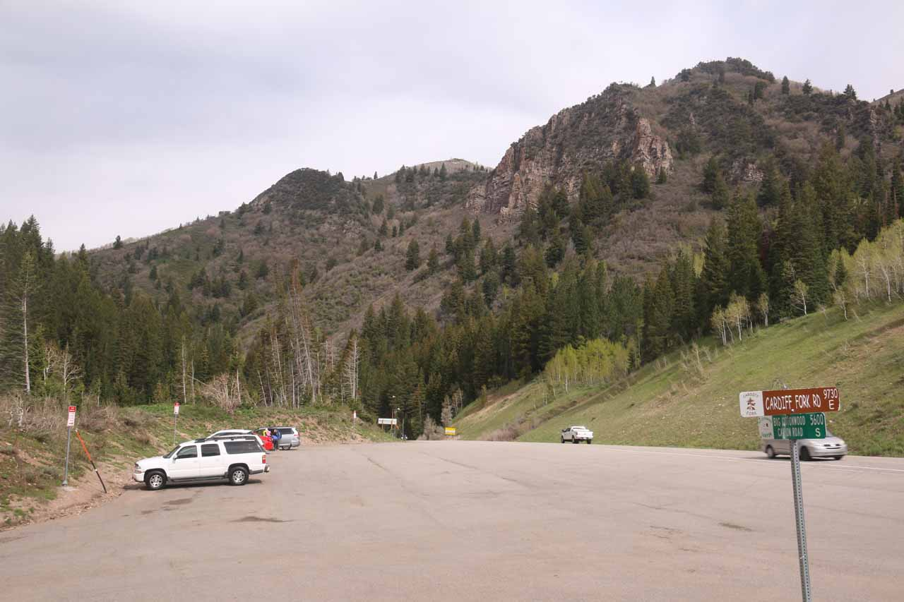 Looking back at the wide Mill D Parking Lot before the gated turnoff for Cardiff Fork along Big Cottonwood Canyon Road
