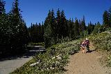 Donut_Falls_020_08092020 - Julie and Tahia continuing on the Donut Falls Trailhead Trail just beyond the road crossing