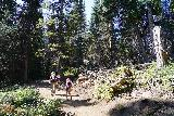 Donut_Falls_027_08092020 - Julie and Tahia continuing along the ascending trail to the Donut Falls Trailhead as we were surrounded by trees