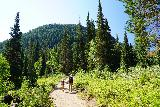 Donut_Falls_029_08092020 - Julie and Tahia traversing through another open part of the trail to the Donut Falls Trailhead during our mid-August 2020 visit