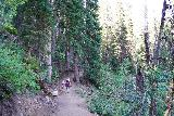 Donut_Falls_039_08092020 - Julie and Tahia going along the ledge that climbed briefly before descending to the official Donut Falls Trailhead