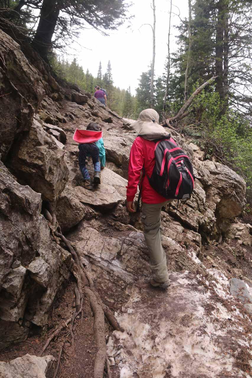 Tahia and Julie climbing back up the embankment on the return hike