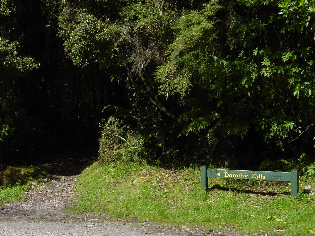 The signposted short track to Dorothy Falls