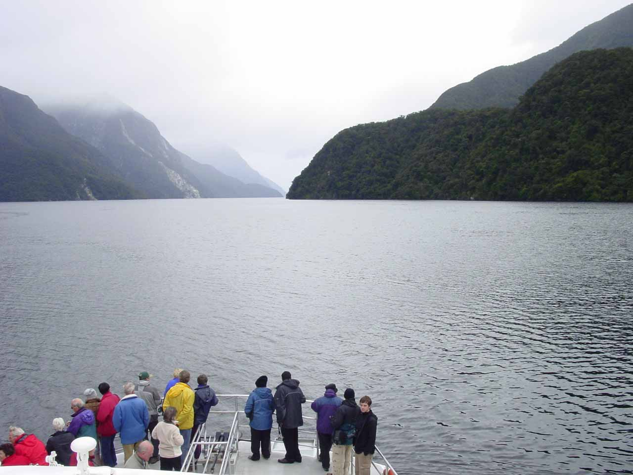 Looking towards the front of the vessel where dozens of people braved the frigid cold temperatures and wind chill to fully experience the Doubtful Sound