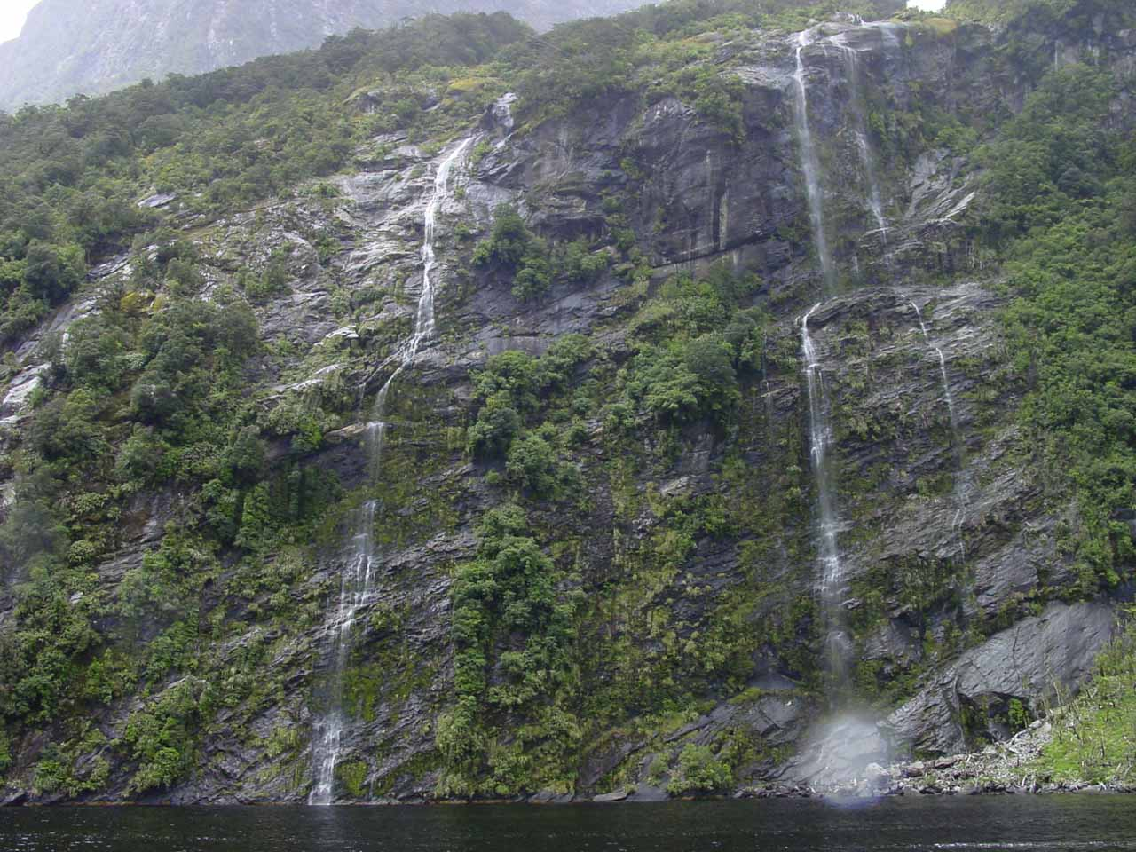 Another pair of ephemeral waterfalls spilling into Doubtful Sound