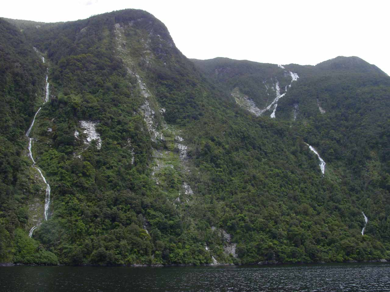 Another fleeting look at Browne Falls (right) and a companion waterfall (left)