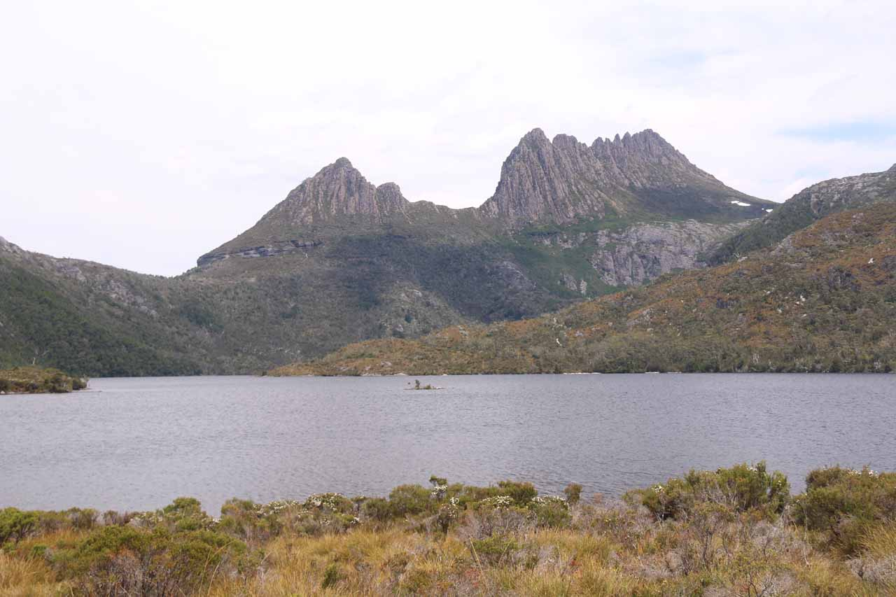 Nelson Falls was west of the Lake St Clair area, which was the southern end of the Cradle Mountain-Lake St Clair National Park. Shown here was Cradle Mountain on the north end of that reserve