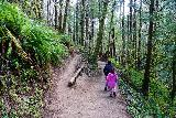 Drift_Creek_Falls_027_04082021 - Julie and Tahia descending a switchback on the Drift Creek Falls Trail