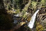 Drift_Creek_Falls_057_04082021 - More contextual half-shadowed view of Drift Creek Falls and its base from the suspension bridge