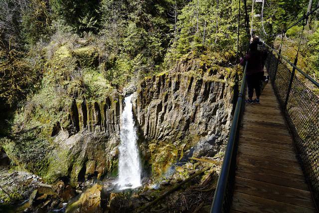 Drift_Creek_Falls_066_04082021 - Context of the Drift Creek Falls Suspension Bridge as well as the Drift Creek Falls with a faint rainbow in its mist