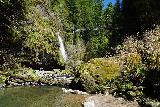 Drift_Creek_Falls_117_04082021 - Looking upstream along Drift Creek towards a partial look at Drift Creek Falls and the suspension bridge above it
