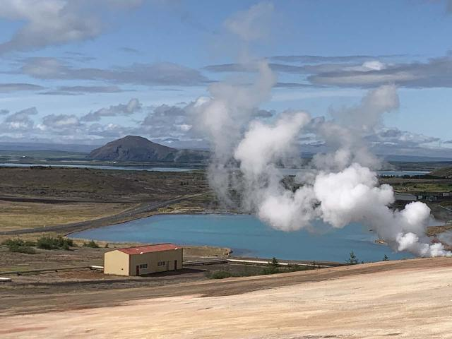Drive_to_Vogafjos_025_iPhone_08132021 - Looking down towards a geothermal plant near Krafla just to the east of the town of Reykjahlið and the lake Mývatn, which were probably the closest signs of 'civilization' to the Jökulsárgljúfur
