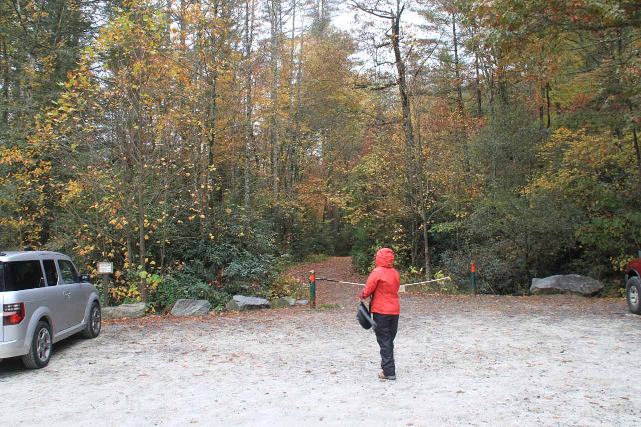 The wide open car park and trailhead