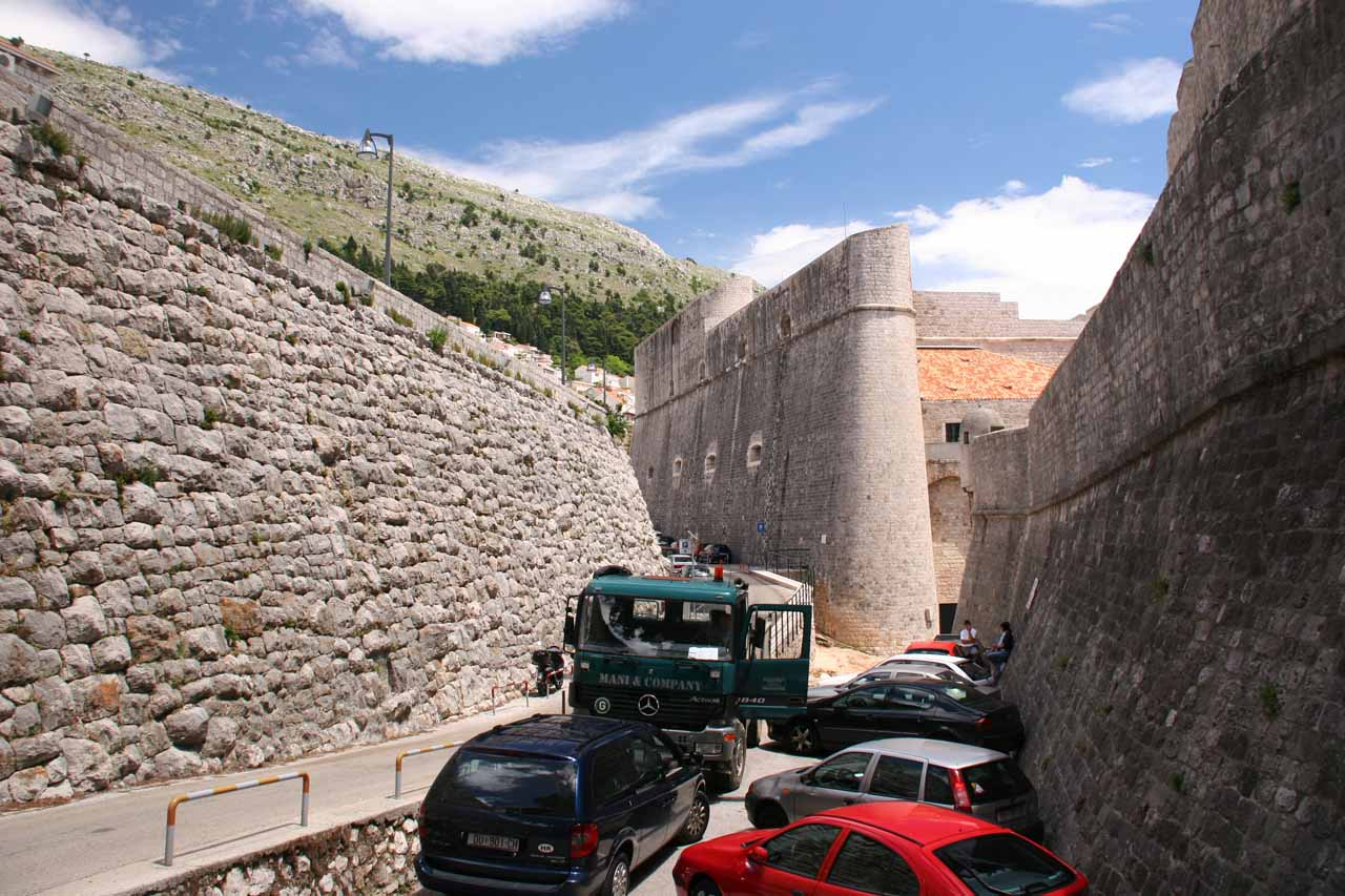Parking just outside the city walls