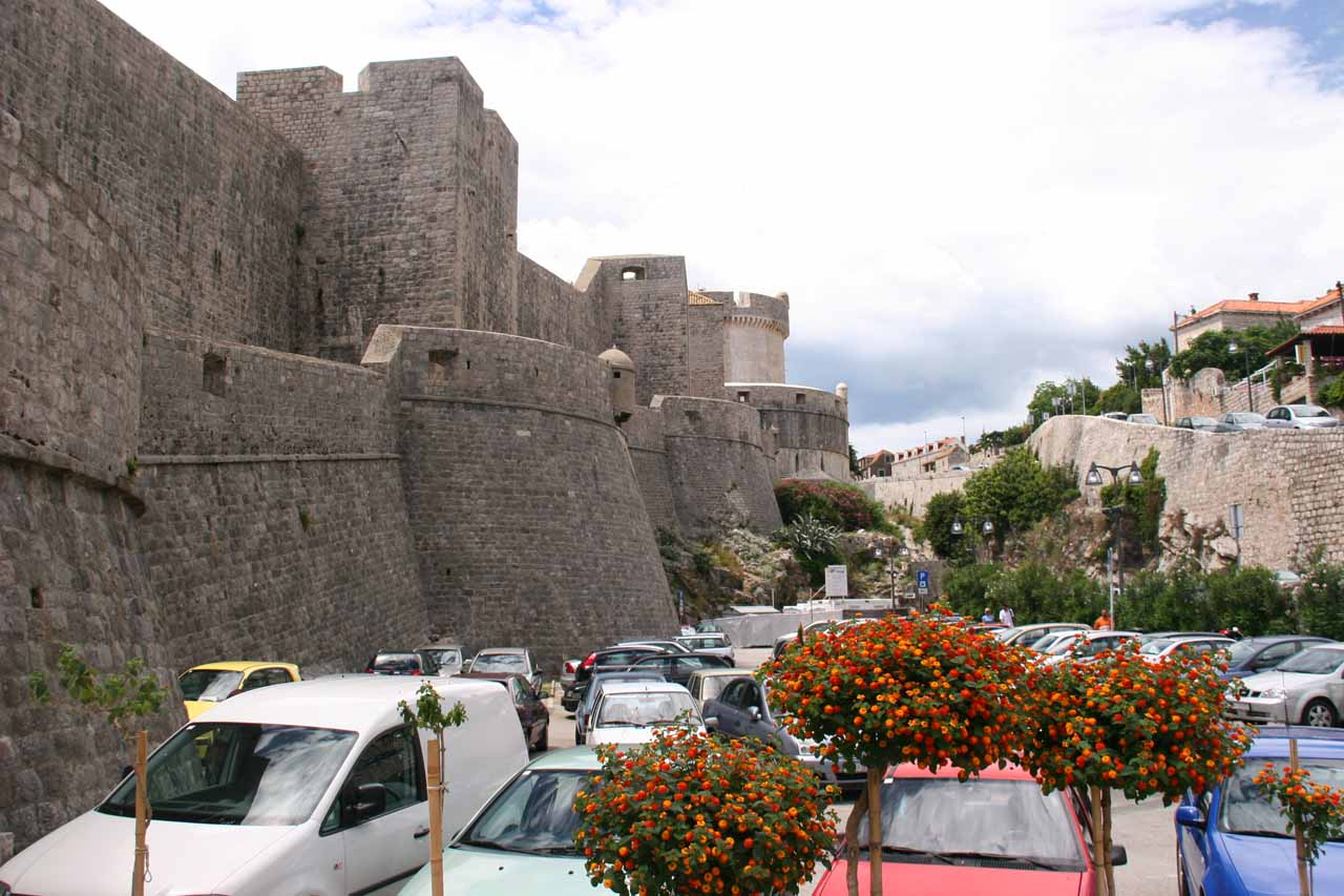 More of the city walls and parking spaces