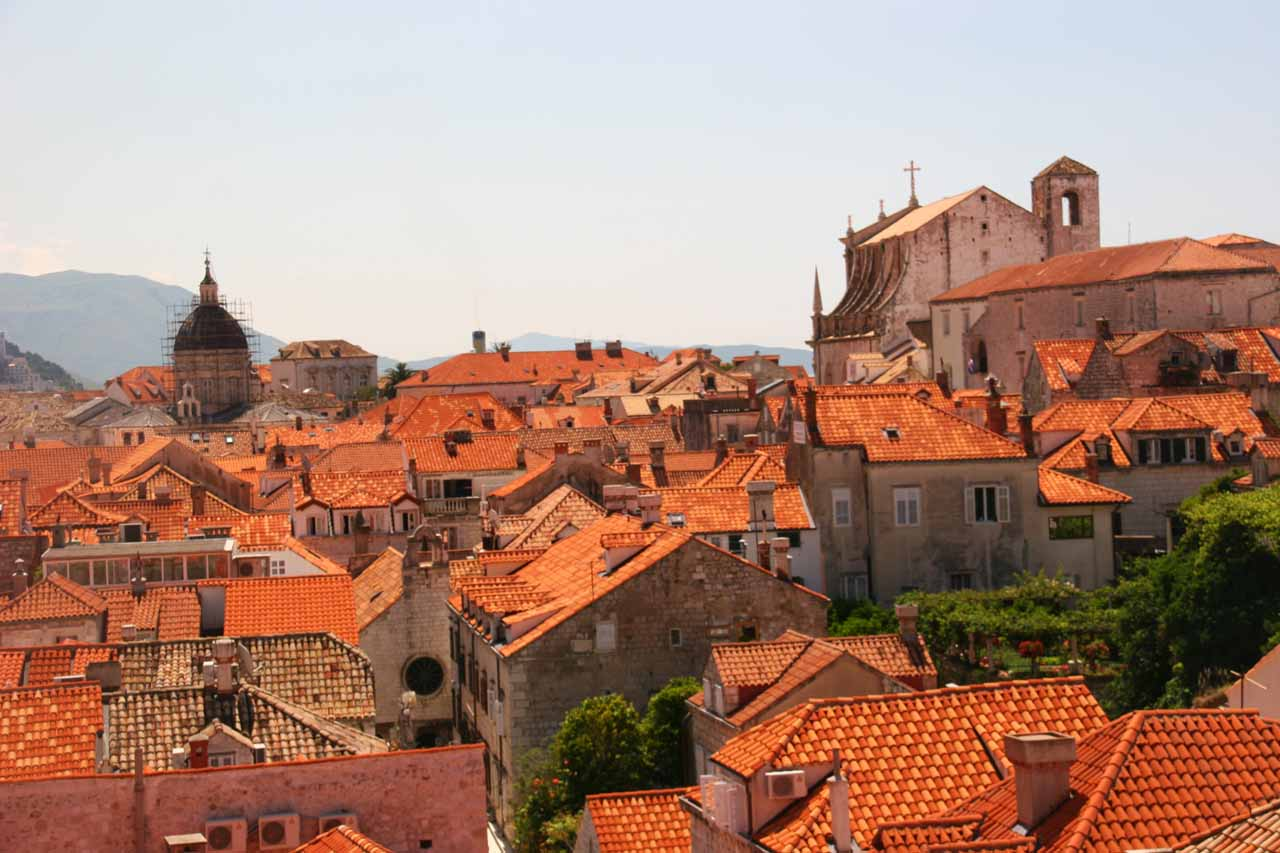 Looking back towards the sea of red-tiled rooftops from the City Walls
