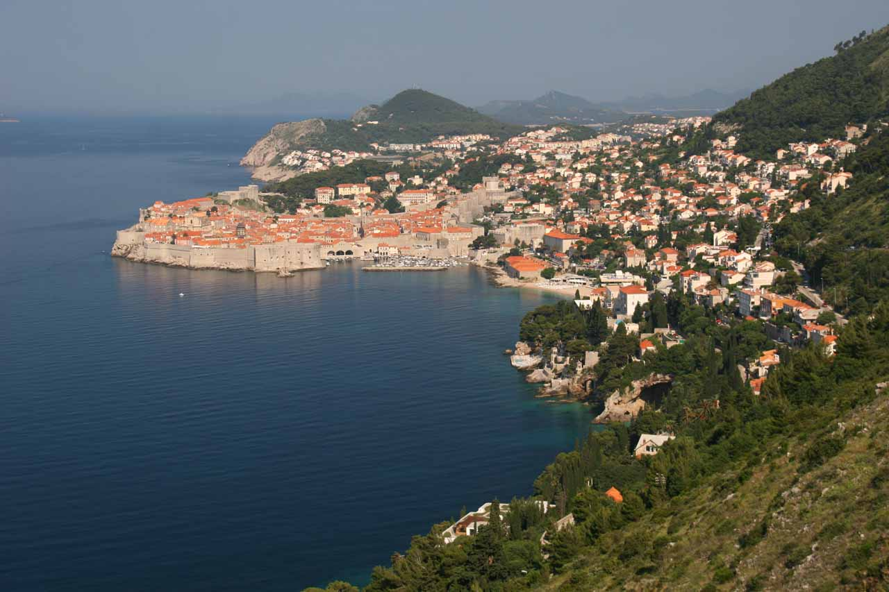 Looking back at Dubrovnik from the road leading south to the airport