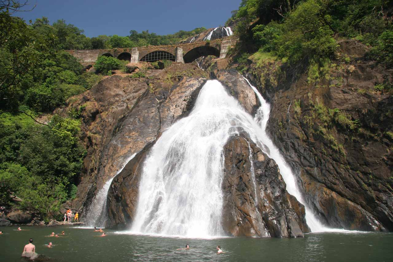 At the busy base of Dudhsagar Falls
