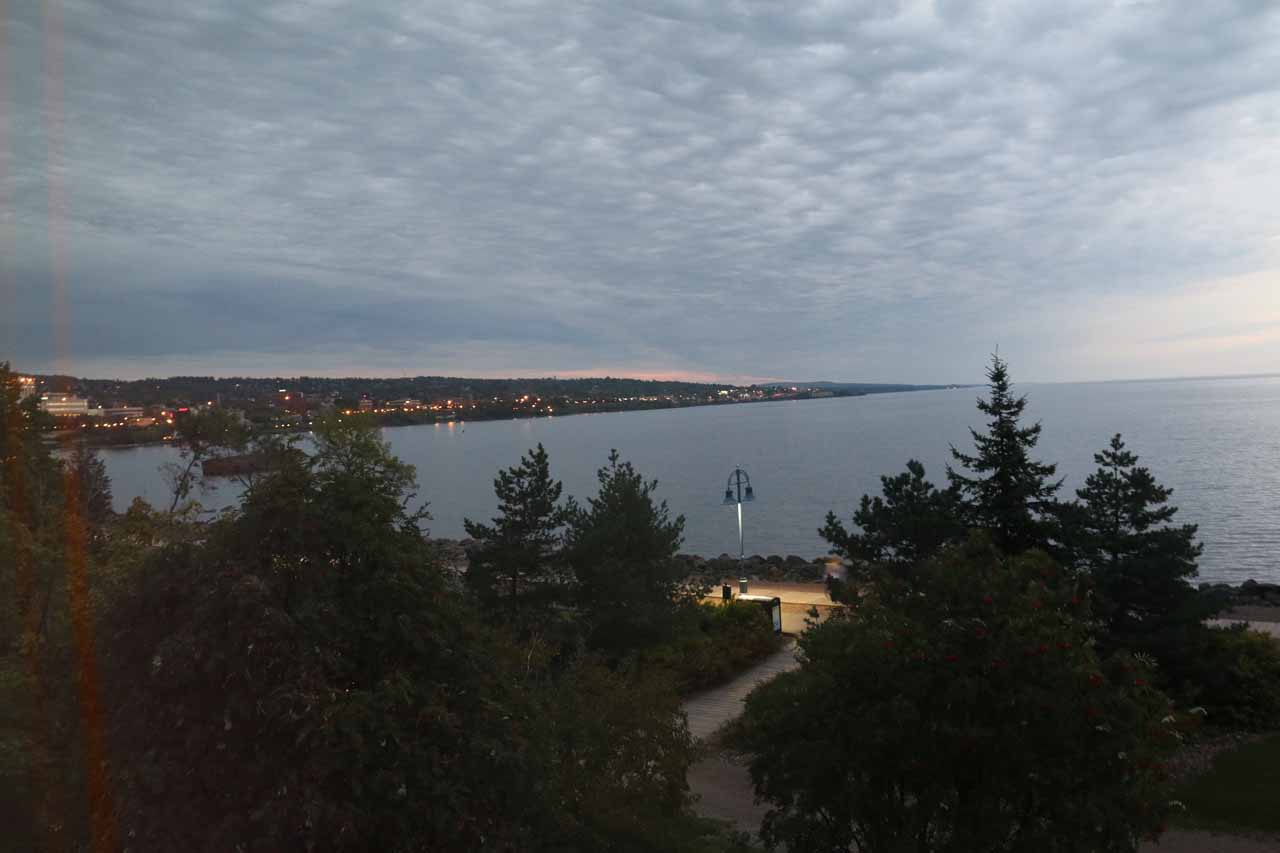 Looking out towards Lake Superior in the early morning hours from our room at the Comfort Inn Duluth