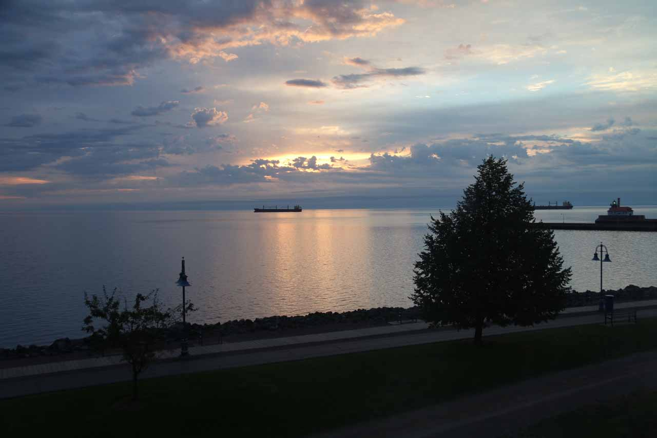 Sunrise over Lake Superior as seen from Duluth