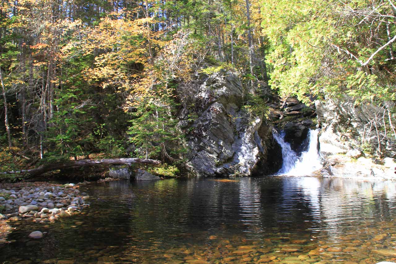 This was the inviting wide plunge pool and small waterfall beneath the concealed main part of the Upper Dunn Falls
