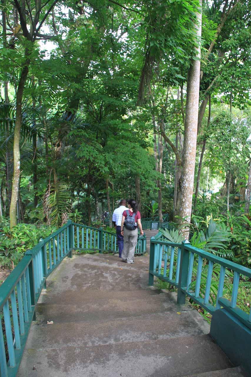 Descending towards the bottom of the falls
