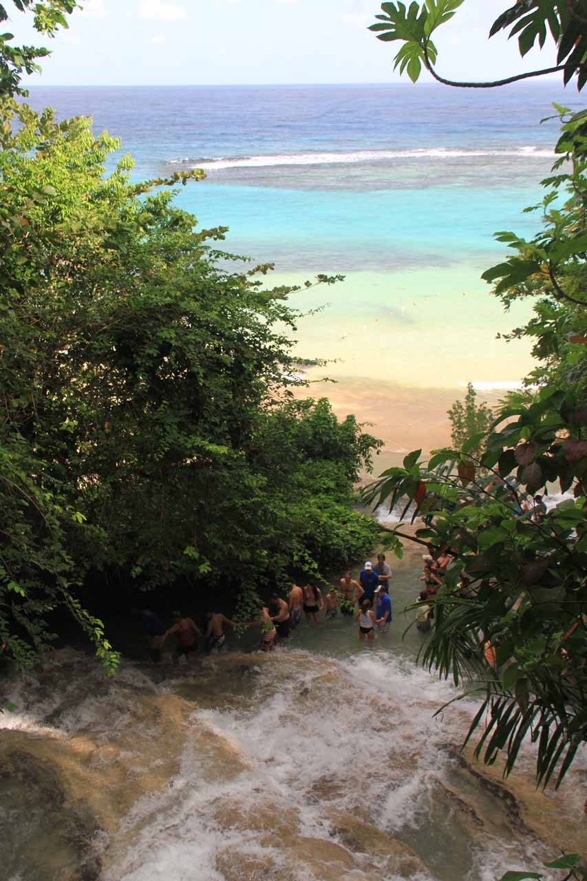 Looking down the lowermost sections of Dunns River Falls towards the Caribbean Sea