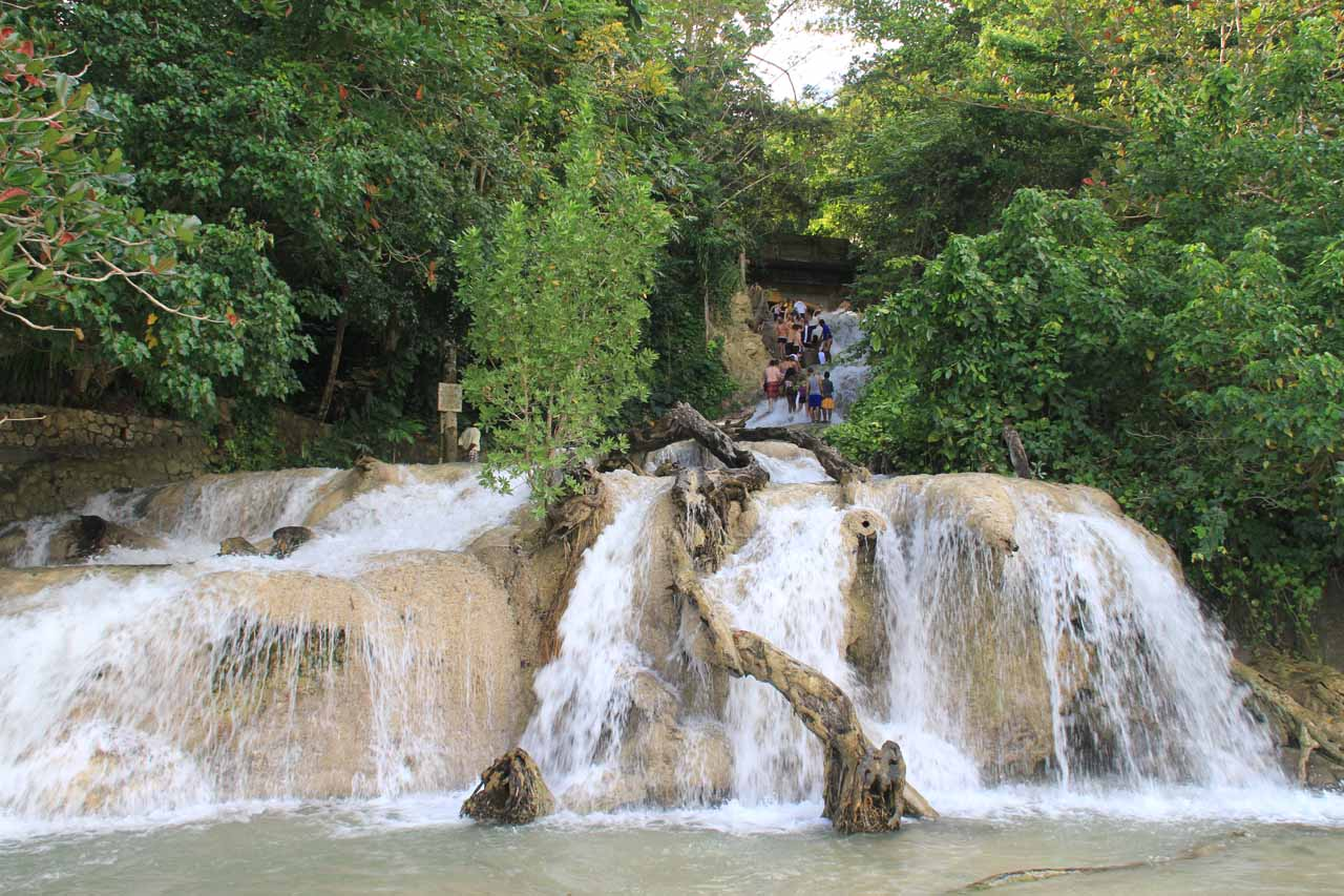 Looking up the bottommost cascades of Dunn's River Falls